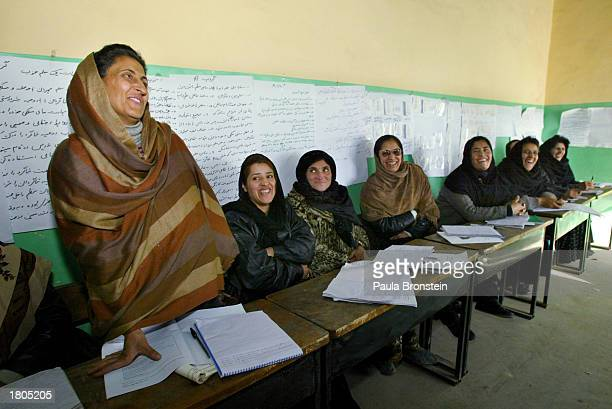 Afghan teacher Gena Hamidi speaks to a class during a UNICEF sponsored national teacher training program February 20 2003 Kabul Afghanistan About...