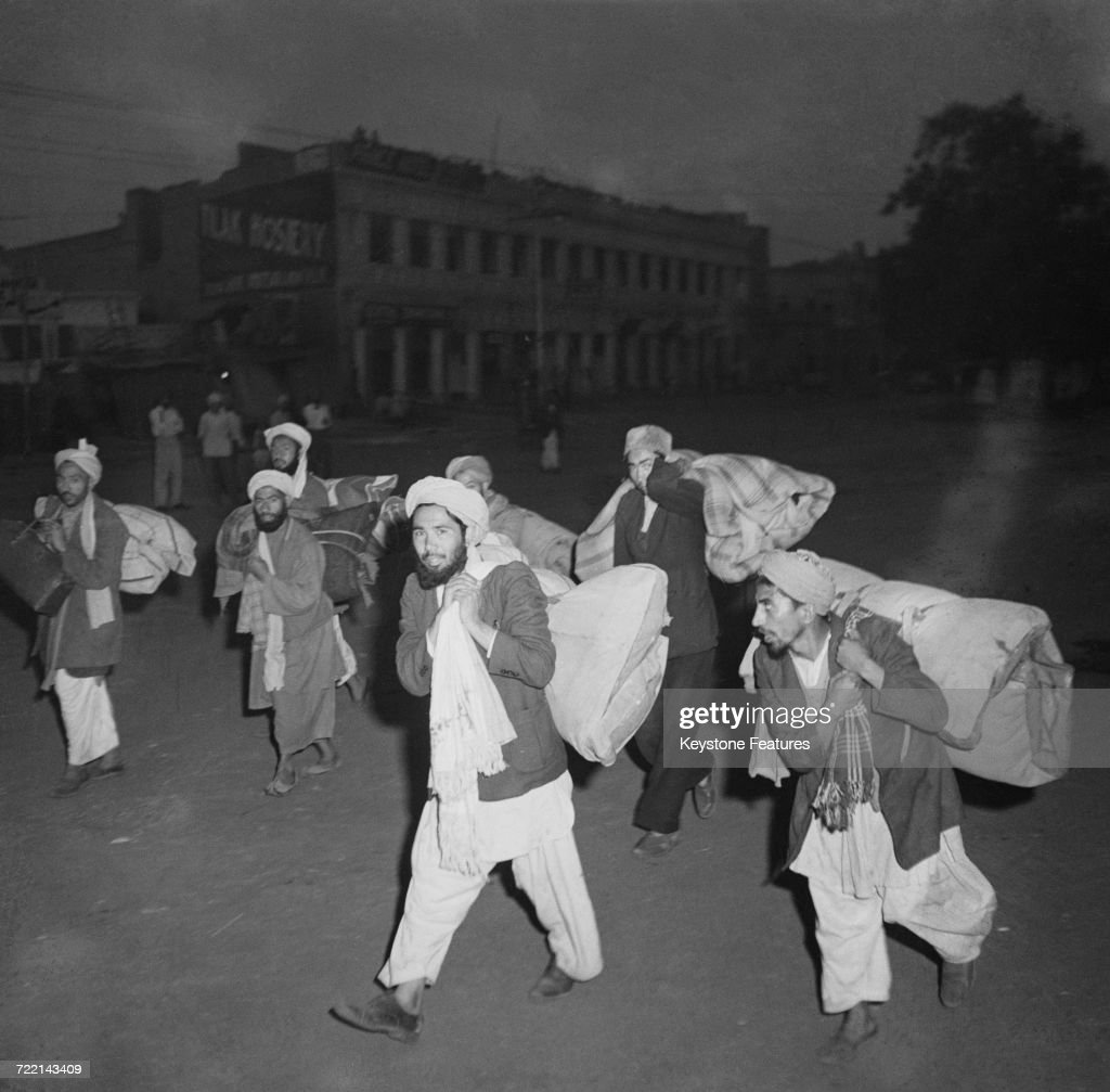 Afghan traders leaving Amritsar Punjab with all their belongings after communal violence in the city during the Partition of British India March 1947.