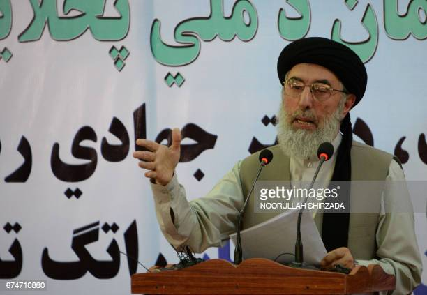 Afghan warlord and ex-prime minister Gulbuddin Hekmatyar gestures as he speaks at a rally in Laghman province on April 29, 2017. Hekmatyar has...