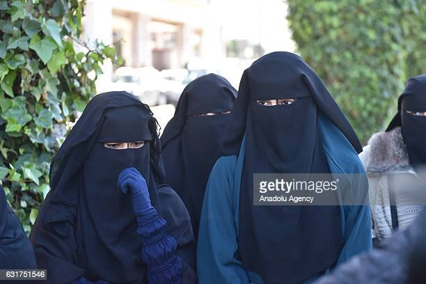 Afghan women are seen to protest about banning the sale burqas at shops import and production of burkas in capital Rabat Morocco on 15 January 2017