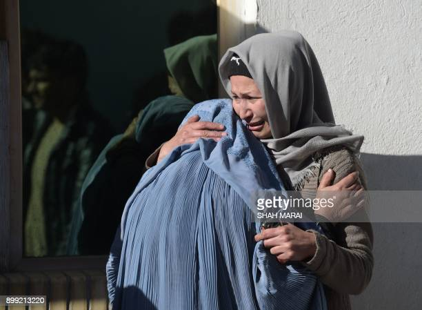 Afghan women weep for their relatives at a hospital following explosions at a Shiite cultural centre in Kabul on December 28 2017 At least 40 people...