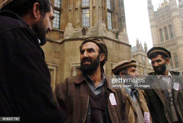 Afghani farmers Akramullah Said Mohammad Ata Badruddin Mian and Mohammad Alam leave the Houses of Parliament in central London Monday February 6...