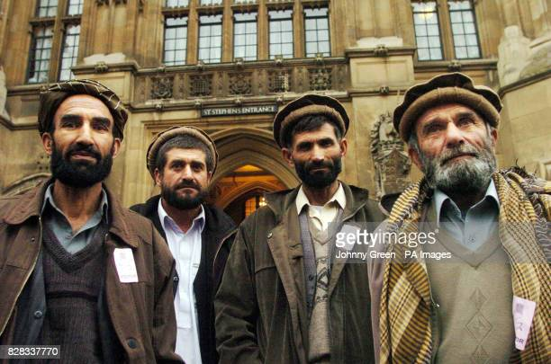 Afghani farmers Mohammad Ata Akramullah Said Mohammad Alam and Badruddin Mian leave the Houses of Parliament in central Londonwhere they urged MPs...