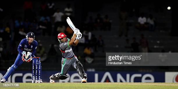 Afghanistan batsman Gulbodin Naib bats during the ICC T20 World Cup cricket match between England and Afghanistan at R Premadasa Stadium on September...