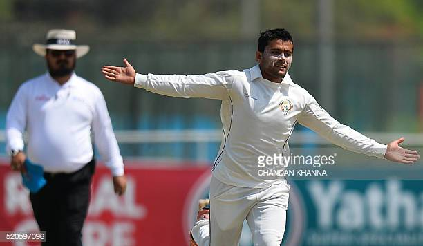 Afghanistan bowler Zahir Khan celebrates after dismissing JP Kotze during the ICC Intercontinental Cup between Afghanistan and Namibia at a cricket...