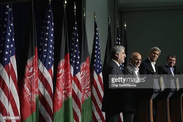 Afghanistan Chief Executive Abdullah Abdullah, Afghanistan President Ashraf Ghani, U.S. Secretary of State John Kerry and U.S. Secretary of Defense...