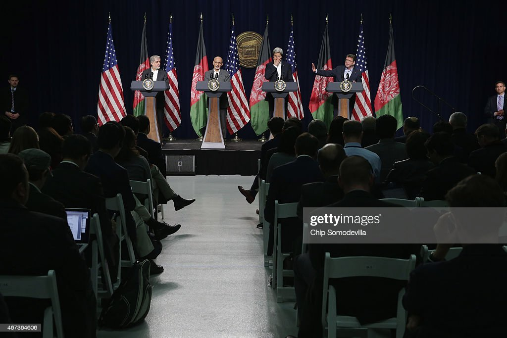 Afghanistan Chief Executive Abdullah Abdullah, Afghanistan President Ashraf Ghani, U.S. Secretary of State John Kerry and U.S. Secretary of Defense Ashton Carter hold a news conference after a day of talks at Camp David March 23, 2015 in Camp David, Maryland. The leaders talked about security, economic development and American support for the Afghan-led reconciliation process before Ghani and Abdullah meet with President Barack Obama Tuesday.