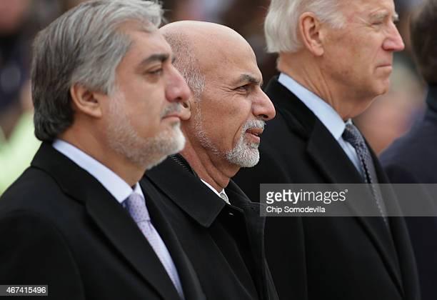 Afghanistan Chief Executive Abdullah Abdullah Afghanistan President Ashraf Ghani and US Vice President Joe Biden participate in a wreathlaying...
