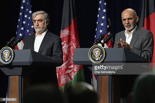 Afghanistan Chief Executive Abdullah Abdullah and Afghanistan President Ashraf Ghani hold a news conference after a day of talks at Camp David March...