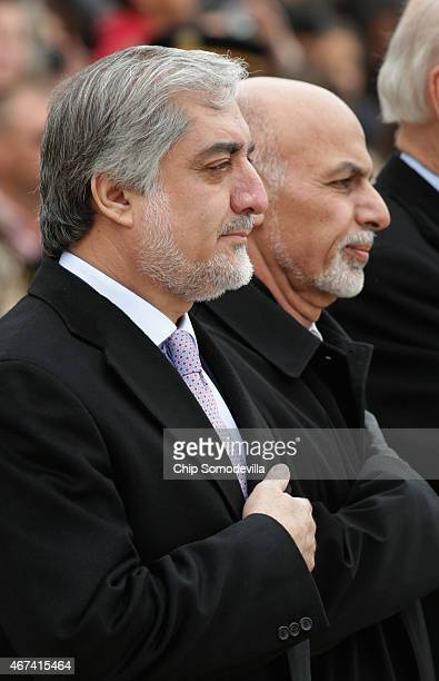 Afghanistan Chief Executive Abdullah Abdullah and Afghanistan President Ashraf Ghani participate in a wreathlaying ceremony at the Tomb of the...