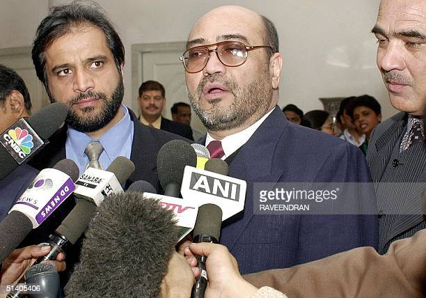 Afghanistan Civil Aviation and Tourism Minister Abdul Rahman talks to the press in New Delhi's Indira Gandhi International airport 24 January 2002...