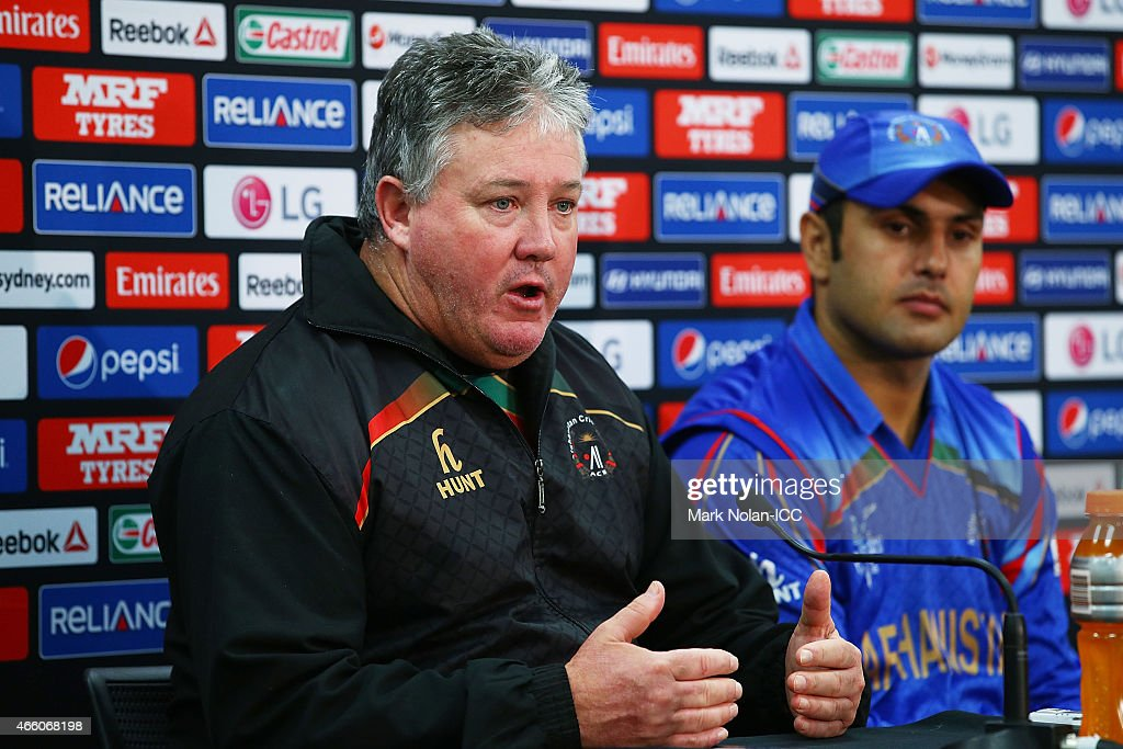 Afghanistan coach Andy Moles and Afghanistan captain Mohammad Nabi speak to the media during the 2015 Cricket World Cup match between England and Afghanistan at Sydney Cricket Ground on March 13, 2015 in Sydney, Australia.