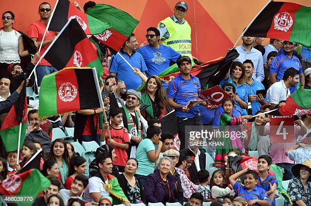 Afghanistan cricket team fans cheer up during the 2015 Cricket World Cup Pool A match between England and Afghanistan at the Sydney Cricket Ground on...