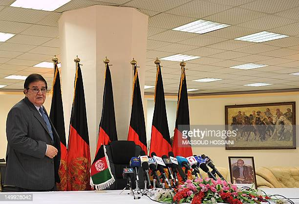 Afghanistan Defence Minister Abdul Rahim Wardak arrives at a press conference at the defence ministry in Kabul on August 7 2012 Afghanistan's...