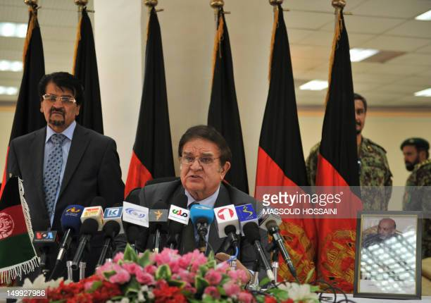 Afghanistan Defence Minister Abdul Rahim Wardak speaks to Afghan and international media representatives at the defence ministry in Kabul on August 7...