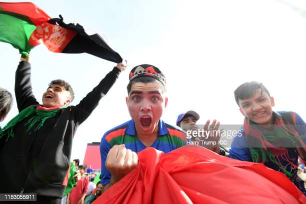 Afghanistan fans react during the Group Stage match of the ICC Cricket World Cup 2019 between Afghanistan and Australia at Bristol County Ground on...