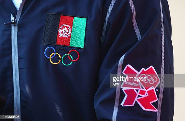Afghanistan flag and the Olympic logo are seen on a shirt at the Olympic Village ahead of the London 2012 Olympic Games at the Olympic Park on July...