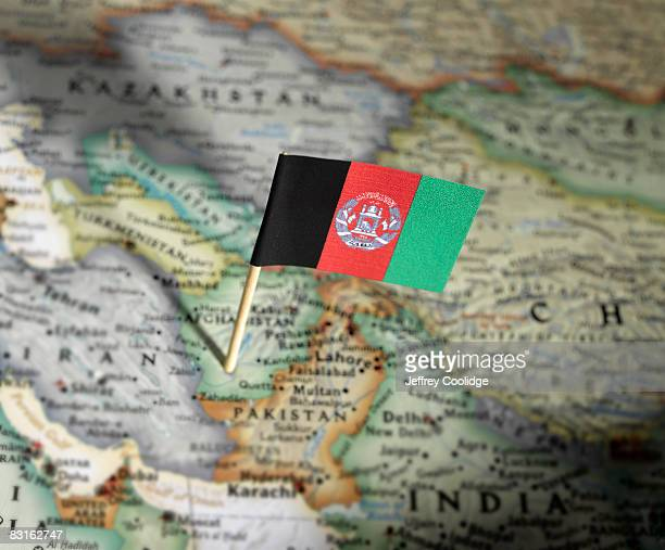 Afghanistan flag in map