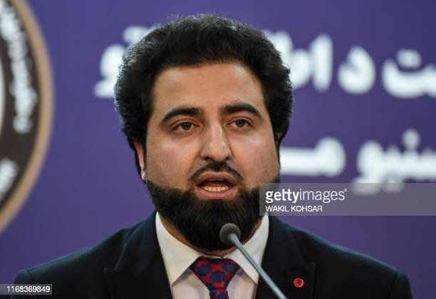 Afghanistan Interior Ministry spokesperson Nasrat Rahimi speaks during a press conference in Kabul on September 15 2019 Aghans are bracing for fresh...