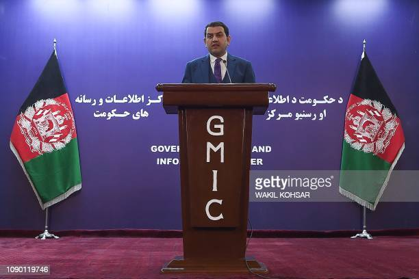 Afghanistan Jamshid Rasuli, spokesman for Afghanistan's Attorney Generals office, looks on as he speaks during a press conference in Kabul on January...