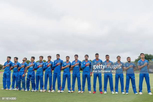 Afghanistan line up for their national anthem prior to the ICC U19 Cricket World Cup Semi Final match between Australia and Afghanistan at Hagley...