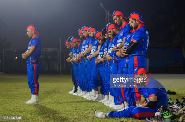 Afghanistan physically challenged cricket team captain Nabiullah Nabi prays before Wadekar Trophy 2018 for physically challenged at Air India Sports...