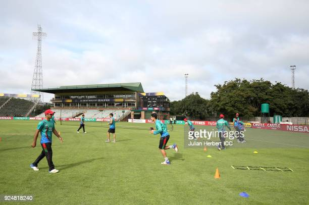 Afghanistan players warm up before The ICC Cricket World Cup Qualifier Warm Up match between Afghanistan and The West Indies at The Harare Sports...