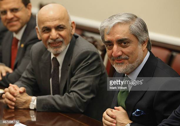 Afghanistan President Ashraf Ghani and Afghanistan Chief Executive Officer Abdullah Abdulla attend a bipartisan meeting with members of the House...