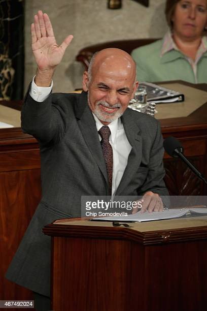 Afghanistan President Ashraf Ghani expresses his country's gratitude for America's fiscal commitment and military sacrifices during an address to a...