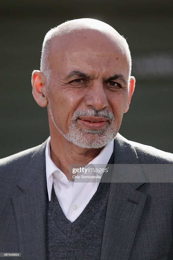 Afghanistan President Ashraf Ghani makes a brief statement to the news media before starting talks at Camp David March 23, 2015 in Camp David, Maryland. After a series of meetings about security, economic development, American support for the Afghan-led reconciliation process, the four leaders will hold a news conference.