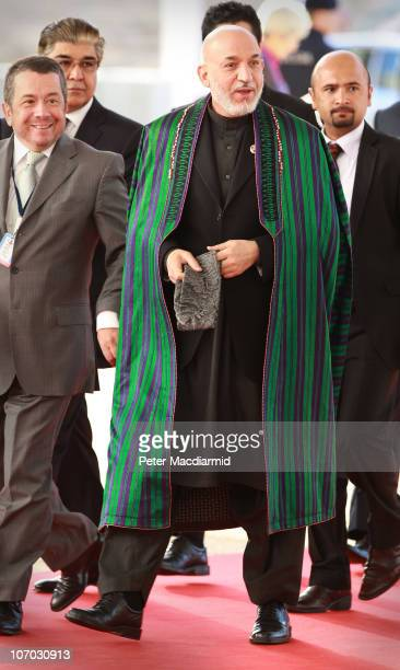 Afghanistan President Hamid Karzai arrives for day two of the NATO Summit at Feira Internacional de Lisboa on November 20, 2010 in Lisbon, Portugal....