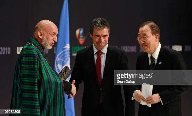 Afghanistan President Hamid Karzai NATO Secretary General Anders Fogh Rasmussen and UN Secretary General Ban Kimoon prepare to depart after speaking...