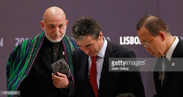 Afghanistan President Hamid Karzai, NATO Secretary General Anders Fogh Rasmussen and U.N. Secretary General Ban Ki-moon depart after speaking to the...