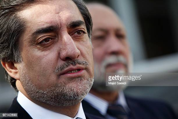 Afghanistan presidential election candidate Abdullah Abdullah gestures as he addresses a press conference at his residence on October 21 2009 in...
