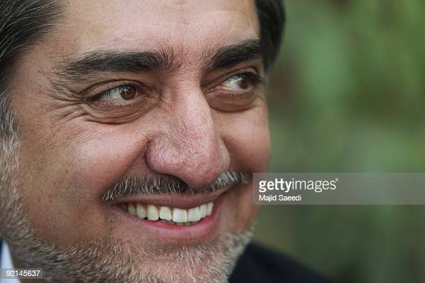 Afghanistan presidential election candidate Abdullah Abdullah smiles while at his residence on October 21 2009 in Kabul Afganistan Abdullah the main...
