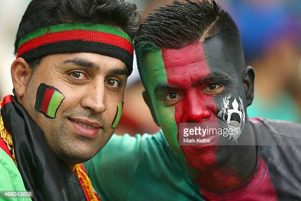 Afghanistan supporters pose during the 2015 Cricket World Cup match between England and Afghanistan at Sydney Cricket Ground on March 13 2015 in...