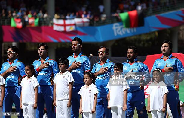 Afghanistan team lines up for the ir national anthem during the ICC World Twenty20 India 2016 Super 10s Group 1 match between England and Afghanistan...