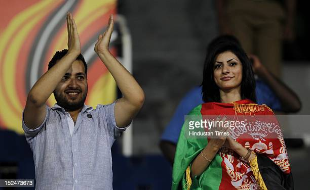 Afghanistan team supporters during the ICC T20 World Cup cricket match between England and Afghanistan at R Premadasa Stadium on September 21 2012 in...