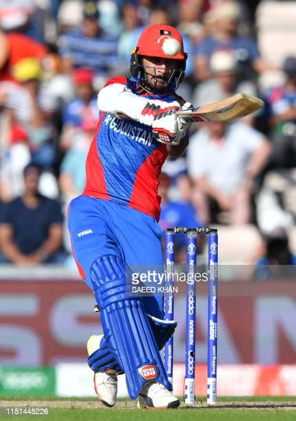 Afghanistan's Ikram Ali Khil plays a shot during the 2019 Cricket World Cup group stage match between India and Afghanistan at the Rose Bowl in...
