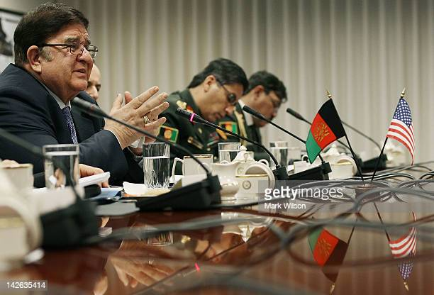 Afghanistan's Minister of National Defense Abdul Rahim Wardak participates in a bilateral meeting with Secretary of Defense Leon Panetta at the...