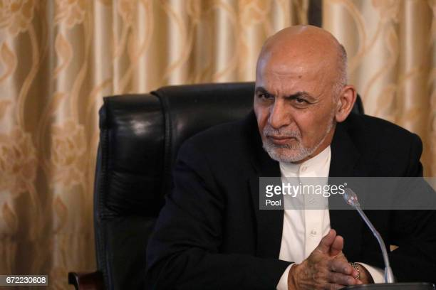 Afghanistan's President Ashraf Ghani addresses U.S. Defense Secretary James Mattis and his delegation at the Presidential Palace on April 24, 2017 in...