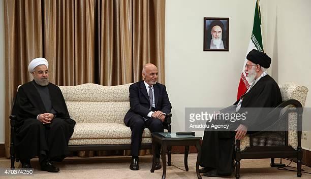 Afghanistan's President Ashraf Ghani meets with Iran's religious leader Ayatollah Ali Khamenei and Iran's President Hassan Rouhani in Iran's capital...