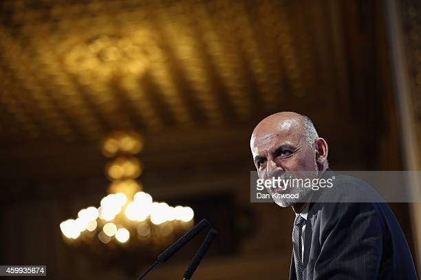 Afghanistan's President Ashraf Ghani speaks to delegates and ministers during the London Conference on Afghanistan on December 4 2014 in London...