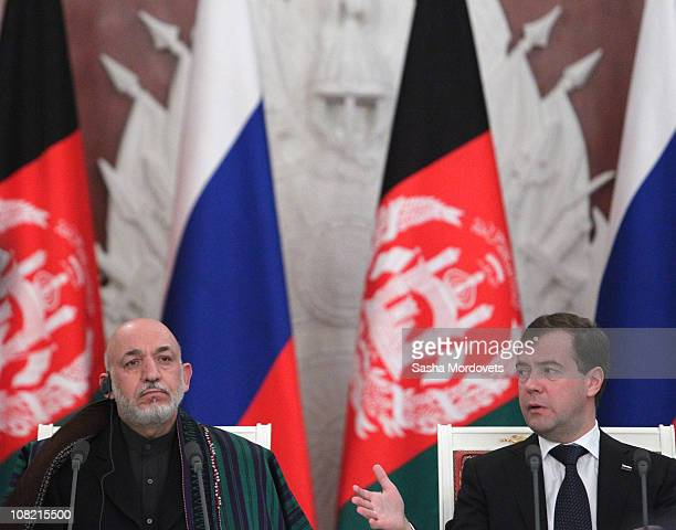 Afghanistan's President Hamid Karzai and Russian President Dmitry Medvedev attend a press conference at the Grand Kremlin Palace on January 2011 in...