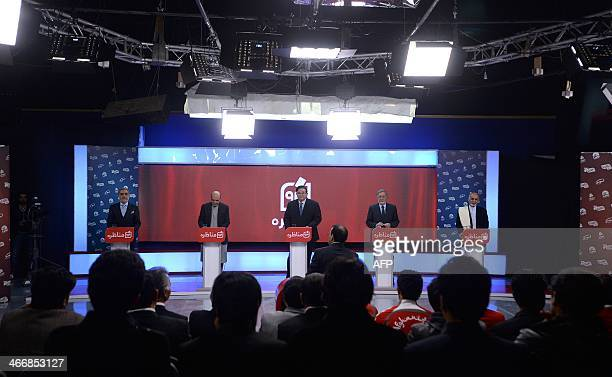 Afghanistan's presidential candidates left to right Abdullah Abdullah Qayum Karzai Abdul Rahim Wardak Zalmai Rassoul and Ashraf Ghani at Tolo TV...