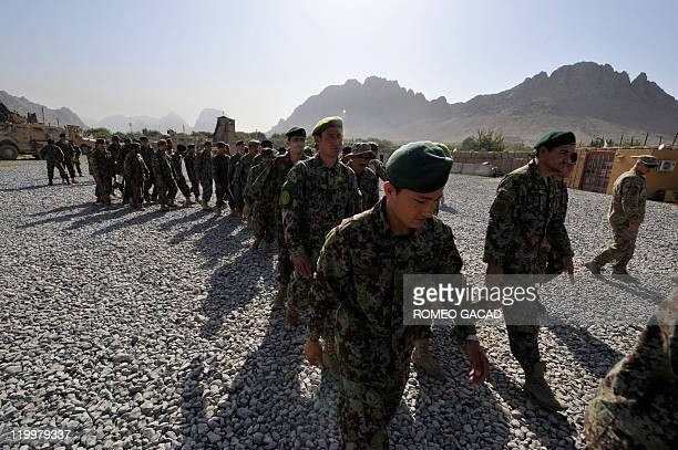 STORY 'AfghanistanunrestarmyFOCUS' by Jason Gutierrez Photo taken on July 23 2011 shows Afghan National Army soldiers marching during a troop...