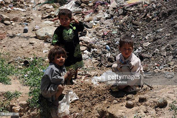 AfghanistanunrestNATOciviliansFOCUS by Lawrence Bartlett This photo taken on May 21 2012 shows internally displaced children from Helmand province...