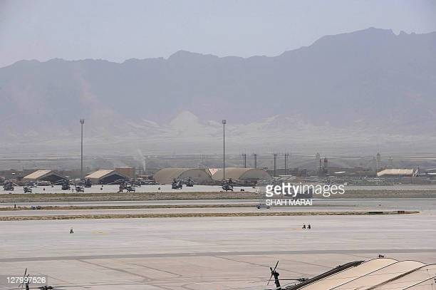 AfghanistanUSwaranniversarymilitaryFOCUS In this picture taken on September 11 2011 a US army F16 fighter jet lands at the Bagram Airfield 50 kms...