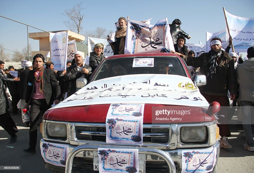 Afghans attend a protest against French magazine, Charlie Hebdo in Kabul, Afghanistan, on January 27, 2015.
