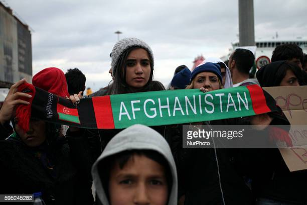 Afghans immigrants during a protest in the port of Piraeus in Athens demanding the opening of the borders on Mar 16, 2016